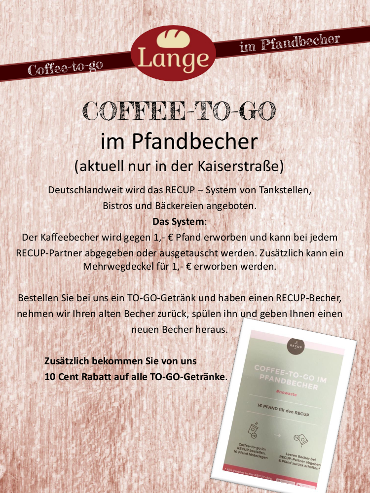 COFFEE-TO-GO im Pfandbecher